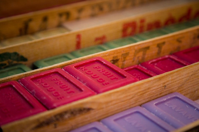 Handmade soaps in the open market in Aix